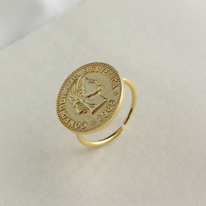 Round Coin Open Ring, 14ct Gold Plate