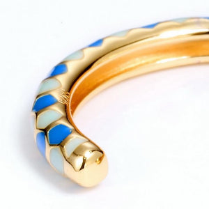 Honeycomb Blue Enamel Cuff Bangle, Enamel Paint, 14ct Gold Plate