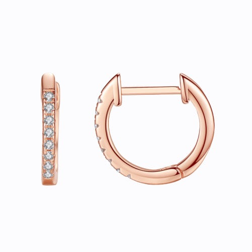 Mini Pave Cuff Hoop Earrings, Rose Gold