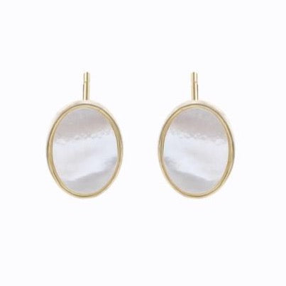 White Shell Stud Earrings, 14ct Gold Plate