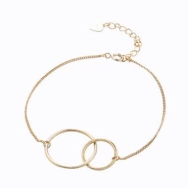 Double Circle Bracelet, 14ct Gold Plate