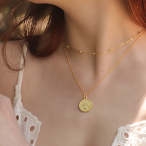 Gold Coin necklace, 14ct Gold Plate