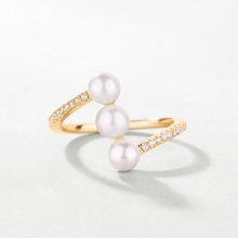Three Shell Pearl Claw, 14K Gold Plate