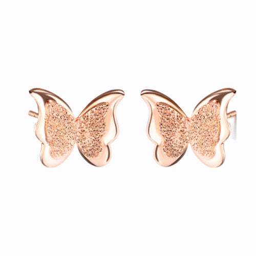 Butterfly Earrings, Rose Gold