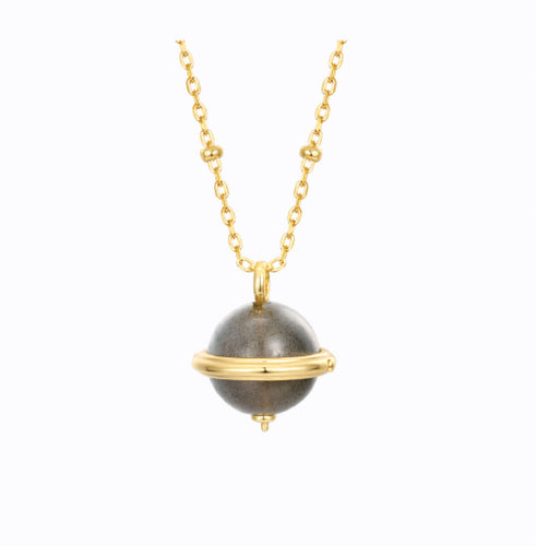 The World Is Yours Labradorite Gemstone Necklace, 14ct Gold Plate