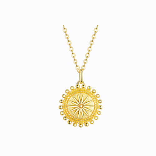 Shining Sun Pendent Necklace, 14ct Gold Plate