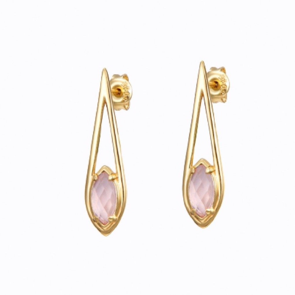 Hanging Raindrop Pink Gemstone, Earrings, 14ct Gold Plate