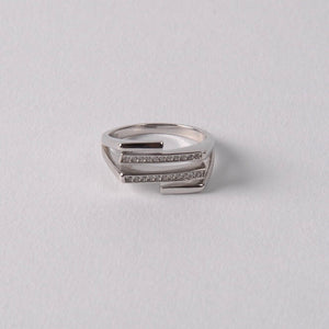 Stag Bar Pavé Ring, Sterling Silver
