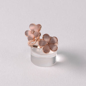 Double Flower Ring, Rose Gold
