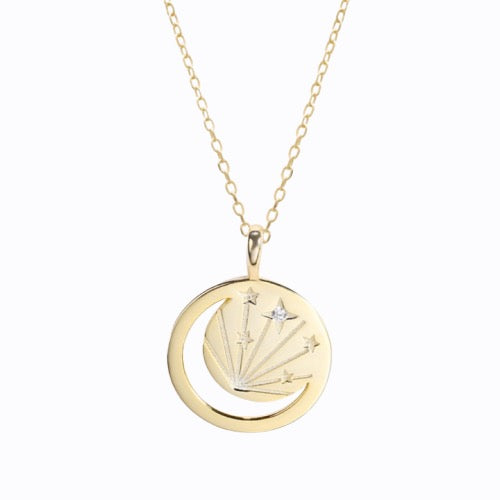 Round Gold Moon Star + Coin Pendant