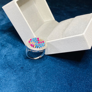 Colourful Garden Round Ring, Silver - Bella Mayford
