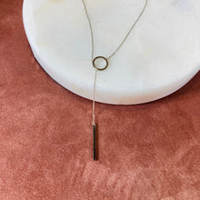Bar + Circle Lariat Necklace, Silver - Bella Mayford
