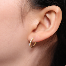 Mini Pavé Cuff Hoop Earrings, Gold