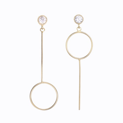 Timeless Small Hoop Drop Earrings, 14ct Gold Plate