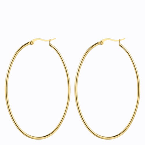 Classic Thin Hoop Earrings, 14ct Gold Plate