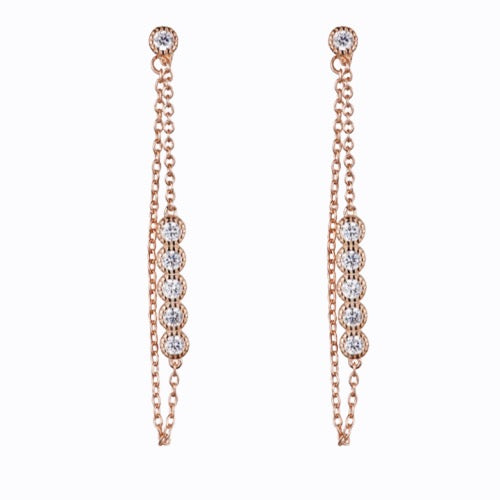Long Line With Simple Stones, Rose Gold