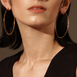 Classic Thin Hoop Earrings, Gold