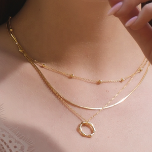 Hexagon Necklace, 18ct Gold Plate