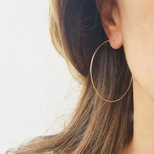Classic Thin Hoop Earrings, Rose Gold