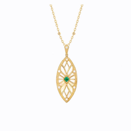 Emerald Eye Pendant Necklace, 14ct Gold Plate