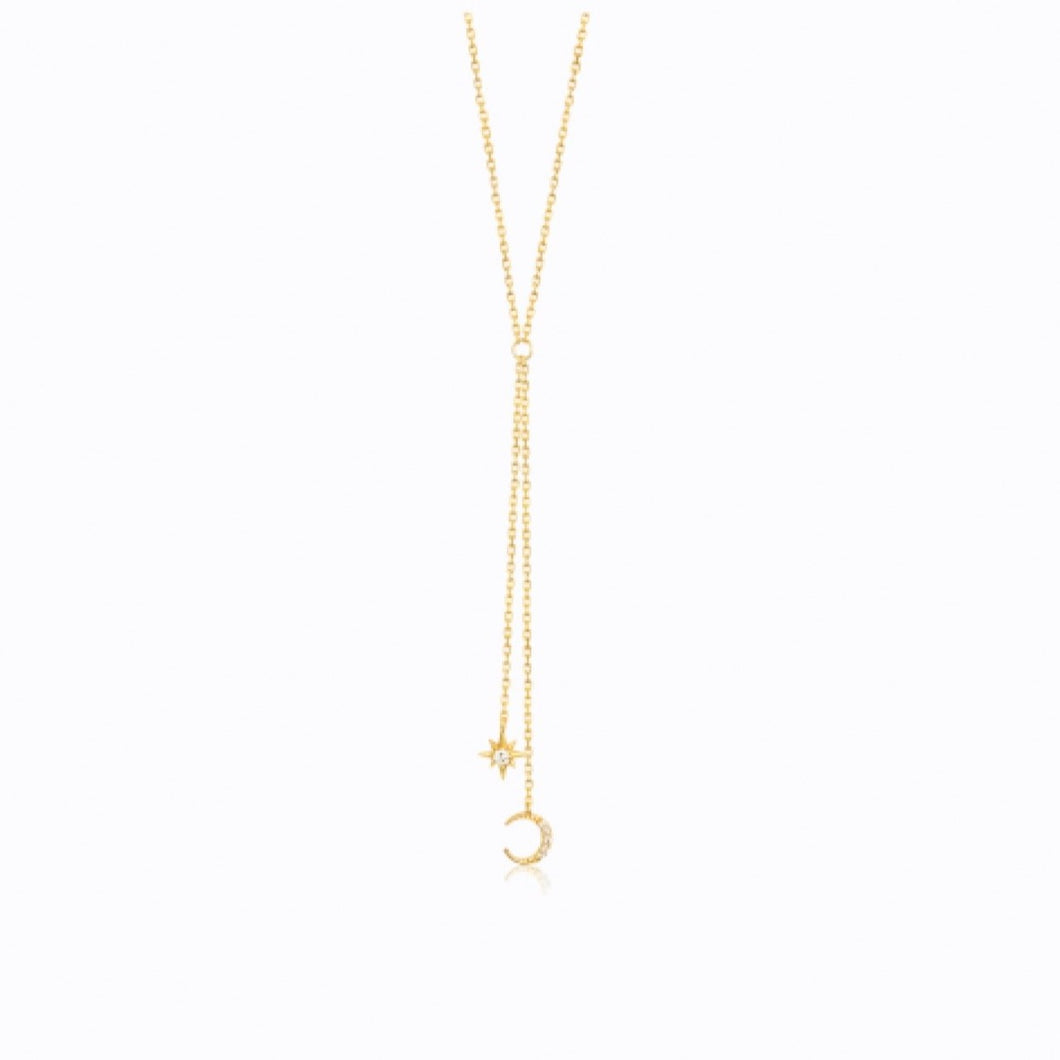 Moon And Star Lariat Double Drop Necklace, 14ct Gold Plate