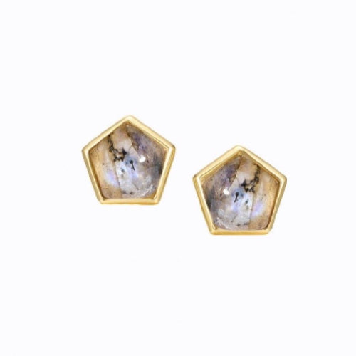 Pentagon Labradorite Stud Earrings, 14CT Gold Earrings