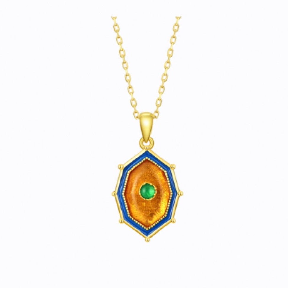 Ablaze Stud Necklace With Amber And Green Agate, 14ct Gold Plate by bella mayford