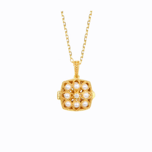 Keepsake Pearl Locket Necklace,  14ct Gold Plate