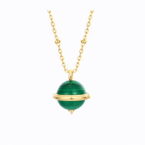 The World Is Yours Malachite Gemstone Necklace, 14ct Gold Plate