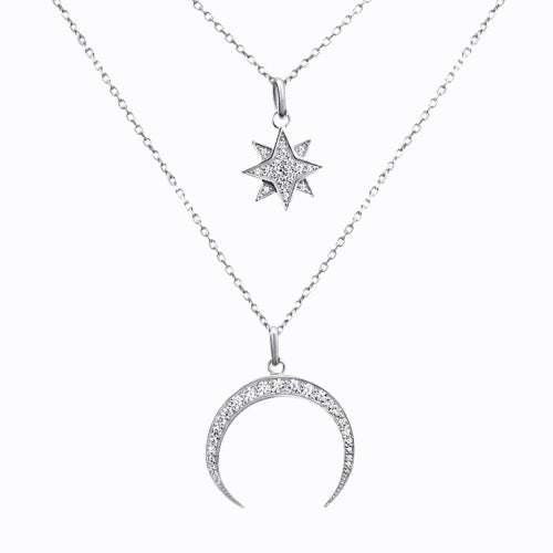 Pave Starburst + Crescent Moon  Necklace, Silver