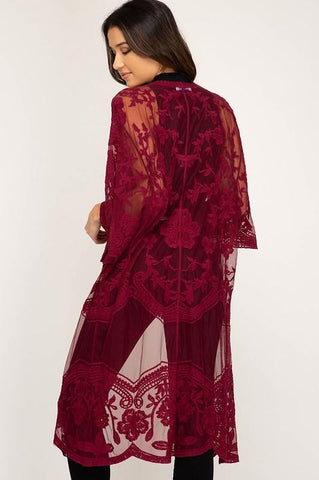 Wine Lace Midi Duster Cardigan $38.99