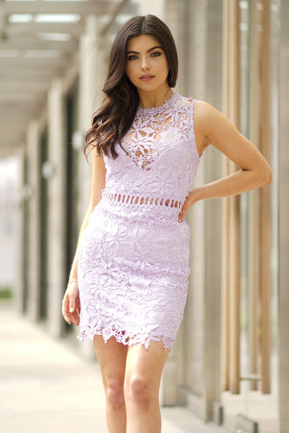Ava crochet lace dress - lilac