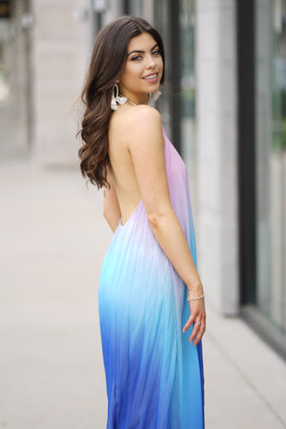 PASSION FRUIT OMBRE DIP DYE MAXI DRESS