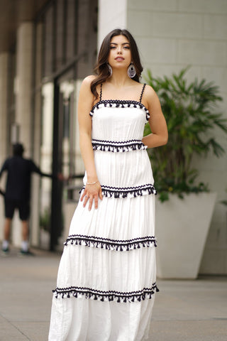 MYKONOS BOHO MAXI TIERED FULL SKIRT WITH ZIG ZAG SHOULDER STRAPS