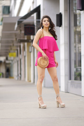 Pink layered romper with pockets
