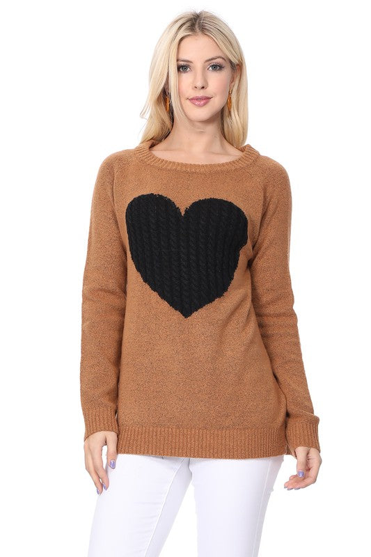 Valentine's Day Heart Sweater - Camel and Black