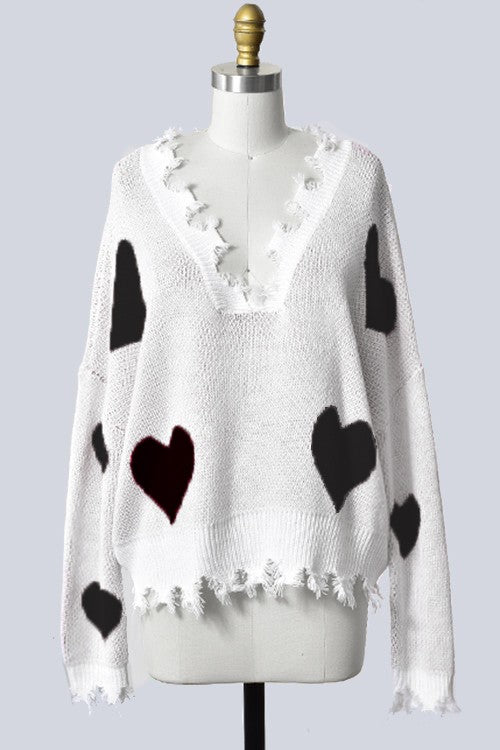 Valentine's Day Heart Sweater - White and Black hearts