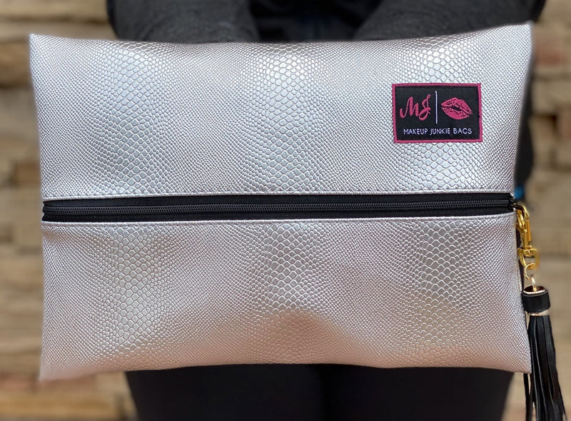 Makeup Junkie Bag - Silver Snake