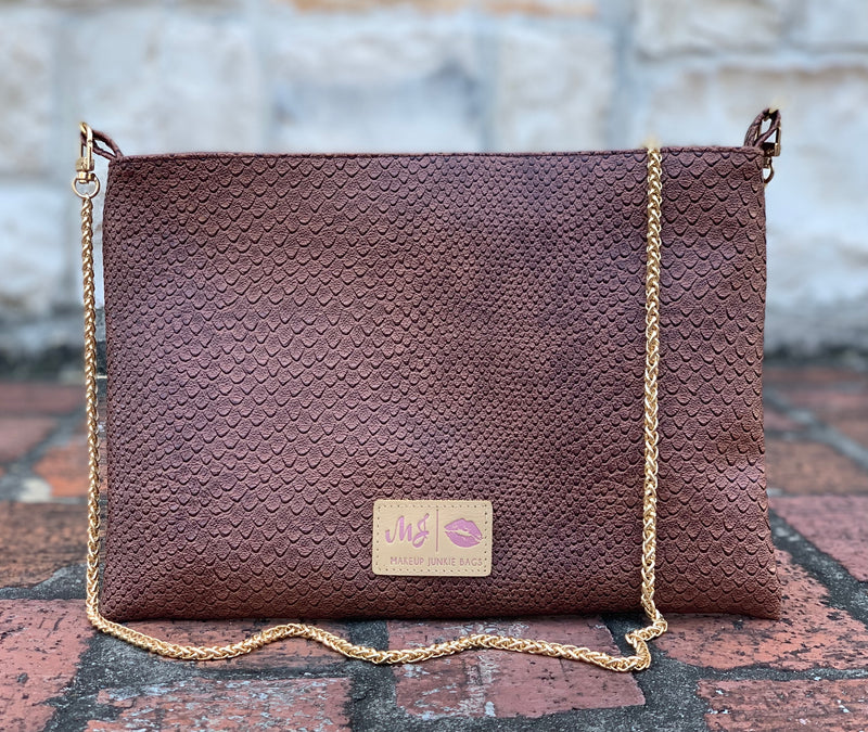 Makeup Junkie Chocolate Cobra Cross Body Textured Vegan Leather Blush Interior