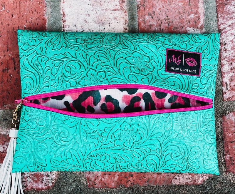 Makeup Junkie Bag - Turquoise Dream hot pink zipper Cheetah interior