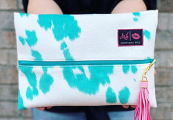 Makeup Junkie Bag and  - Bonnie and Hide- *Exclusive  turquoise cowhide