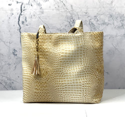 Makeup Junkie Bag- Bubble Gator Sand Tote *PREORDER