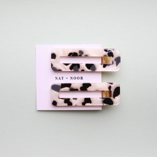 HAIR CLIP - Tortoise Duo In B + W