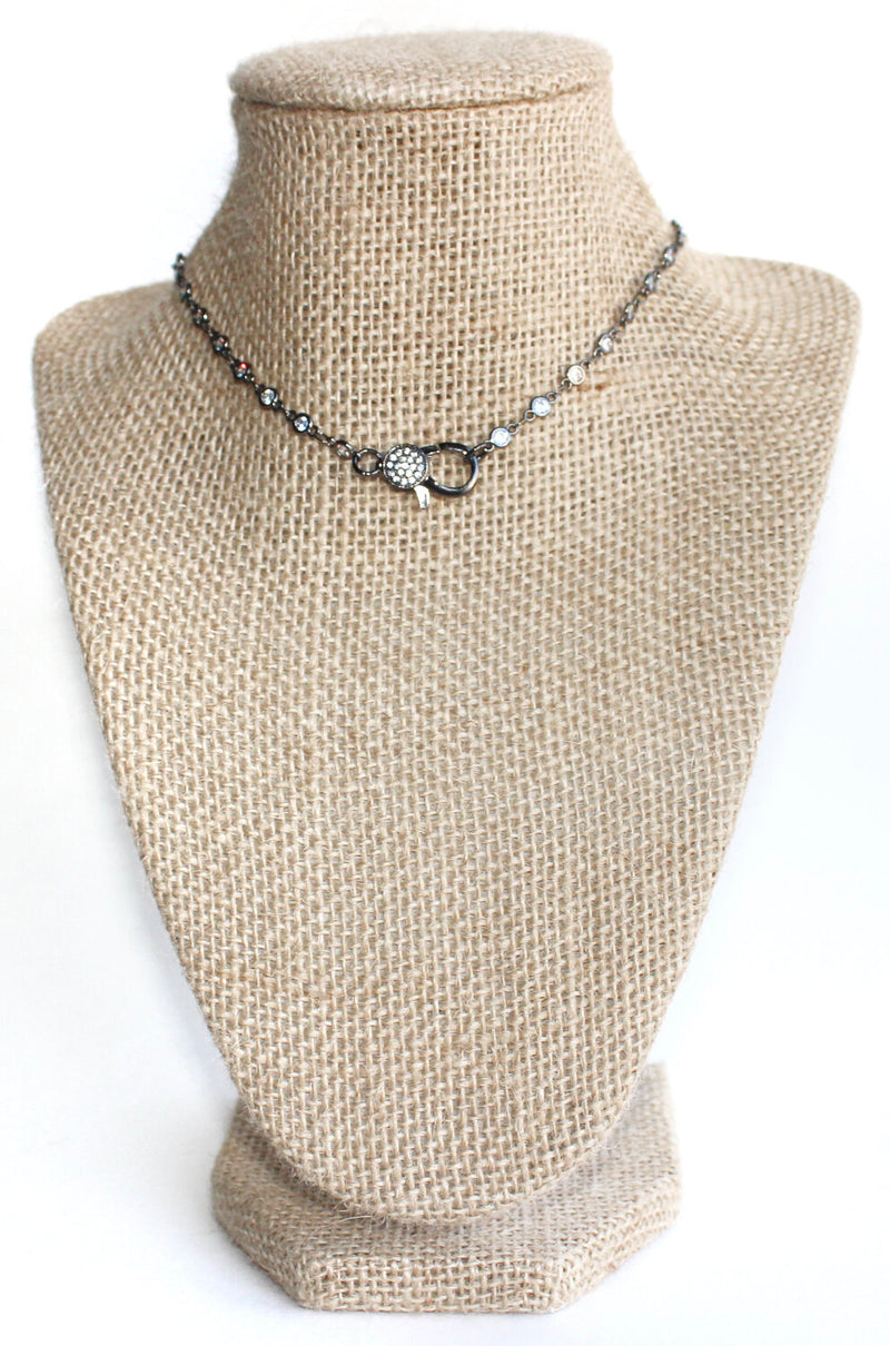 Gun metal lighting bolt necklace - Beaded by Meg