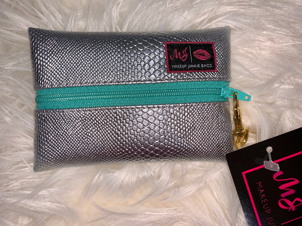 Makeup Junkie Bag - -Silver Serpent (Mint Zipper) micro