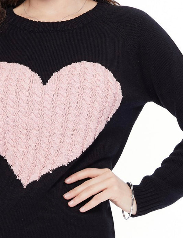 Valentine's Day Heart Sweater - Black and Pink *