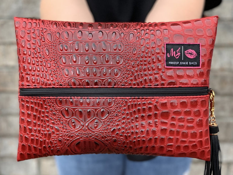 Makeup Junkie Bag- Bubble Gator Rouge