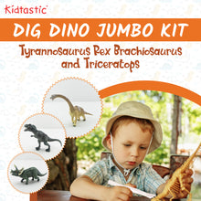 Kidtastic Dig Dinosaur Jumbo Kit Pack of 3 – T-Rex, Triceratops & Brachiosaurus Skeletons Excavation Set