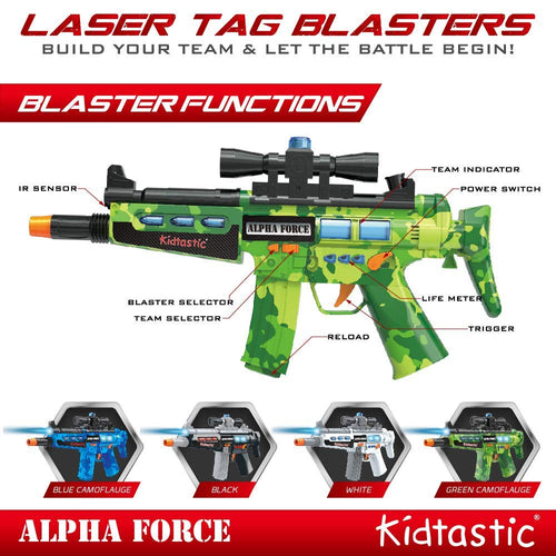 Kidtastic 4 Player Laser Tag Blasters - Infrared Sensor, NO Laser Beam, No Vest Needed