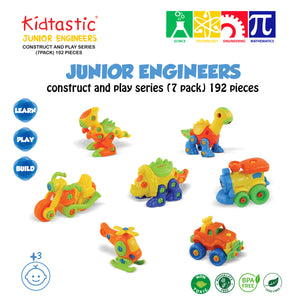 Kidtastic Set of 7 Take Apart Toys - Dinosaurs, Helicopter, Train, Truck, Motorcycle (192 pieces)